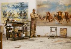 Zil Hoque utilizes chiaroscuro throughout his paintings of Spanish bulls, ...