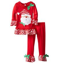 Retail Christmas 2016 new girls dress with long sleeves and trousers five cartoon design style fashion clothes(China (Mainland))