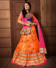 Orange & Pink Color Net Lehenga For Wedding Functions : Parinay Collection YF-37061