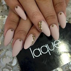 5. These pretty nude nails have the perfect amount of glam for everyday.
