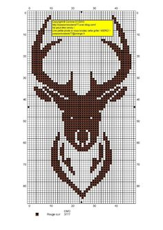 Site has other free charts, but all in French. knitting pattern grids for deer heads to add into a regular knitting pattern Crochet Deer, Crochet Cross, Tapestry Crochet, Crochet Chart, Filet Crochet, Intarsia Knitting, Loom Knitting Patterns, Knitting Charts, Cross Stitch Charts