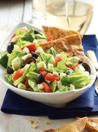 Easy. healthy dinner idea: Greek Salad with warm pita chips #recipe