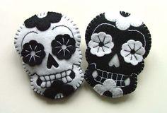 Sugar Skull Brooch Day of the Dead Jewelry