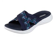 587a7766ea5b Skechers On The Go 600 Monarch Navy Floral Women s Comfort Sandals Skechers  On The Go