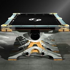 Wood and metal pool table