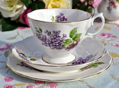 Richmond Lilacs Pattern Vintage Bone China Teacup Trio