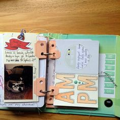 I love all the thread and stitching.  --  How to make the mini album from a project life kit, part 2.