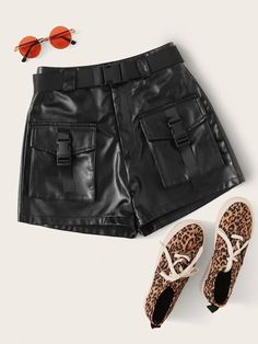 To find out about the Faux Leather Belted Cargo Shorts at SHEIN, part of our latest Shorts ready to shop online today! Faux Leather Fabric, Faux Leather Belts, Leather Pattern, Emma Clothing, Type Of Pants, Color Negra, Leather Fashion, Belt Buckles, Leggings Are Not Pants