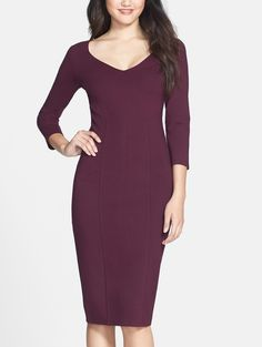Pairing this plum midi sheath dress with booties and a shiny statement necklace for fall.