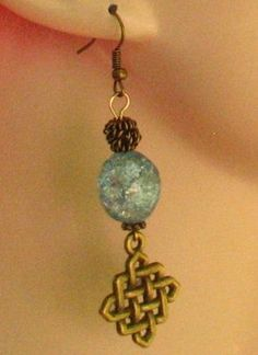Gold/Brass Celtic Knot Blue Cracked Glass Earrings Handmade