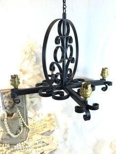 Vintage 4 Arm Black Hand Forged Steel Gothic Style Chandelier Ceiling Light