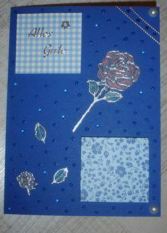 Tröpfchen und Rose in Blau