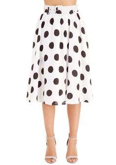 I Spot So Skirt - White, Polka Dots, Belted, Party, Casual, 80s, High Waist, Full, Summer, Woven, Better, White, Long, Pockets, Vintage Inspired, Work
