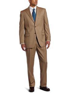 Jones New York Men's 2 Button Side Vent Tan Suit, Tan, 50 Regular « Clothing Impulse