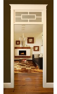 Click image to view style in the Transom shop. Interior Door With Window, Window Above Door, Interior Windows, Transom Windows, Windows And Doors, Craftsman Style Interiors, Small Bungalow, Contemporary Garden Design, Window Grill Design