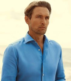 Denim Button Up, Button Up Shirts, Portofino Shirt, Capri Blue, Mother Of Pearl Buttons, Midnight Blue, Classic Looks, Chambray, Perfect Fit