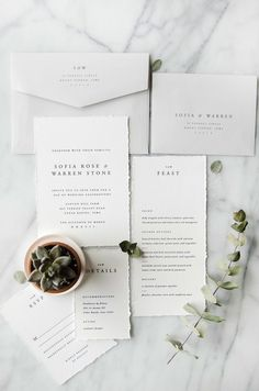 Sofia Wedding Invitation Suite Design   Letterpress   Minimal   Simple   Ivory   Grey   Marble   botanical   garden   succulent   Menu   deckle   Gatherie Creative #WeddingIdeasInvitations #weddingmenu