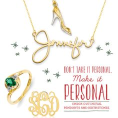 Don't take it personal, make it personal! Check out initial pendants and birthstones. #QIn magazine
