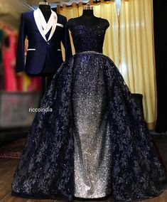 Blue ball gown and blue tuxedo Bride and Groom Co-ord set – Ricco India Indian Wedding Gowns, Indian Gowns Dresses, Indian Bridal Outfits, Indian Fashion Dresses, Indian Designer Outfits, Evening Dresses, Fashion Outfits, Bride Reception Dresses, Wedding Dresses For Girls