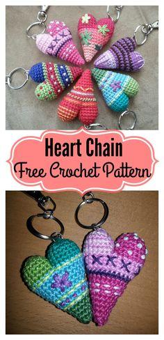 3D Heart Keychain Free Crochet Pattern #Valentines #Freepattern #Crochet