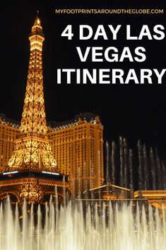 Complete 4 Days of Fun in Las Vegas- Travel Itinerary Las Vegas 4 Day itinerary Las Vegas Vacation, Visit Las Vegas, Las Vegas Hotels, Vacation Spots, Vacation Ideas, Vegas Vacation Packages, North Las Vegas, Vacation Trips, Nevada
