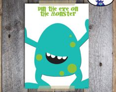 Pin the Eye on the Monster party game by FunFiestaPartyDesign