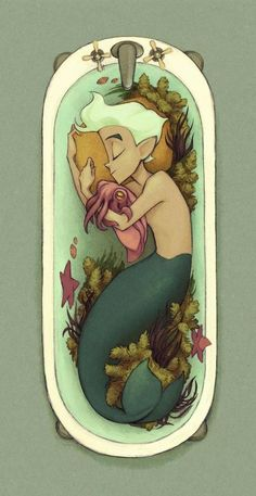 Cuddlefish Art Print (Kecky) - This looks like it could be the inspiration for a Miyazaki/Ghibli film. (This artist actually did an animated short about this merman character and it's really beautiful) Character Inspiration, Character Art, Character Design, Art Et Illustration, Illustrations, Mermaids And Mermen, Merman, Wow Art, Merfolk