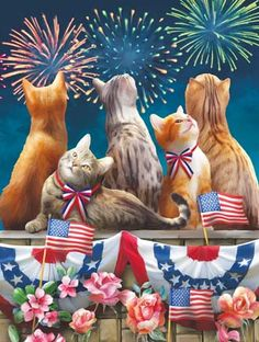 Selmad Welcome July Patriotic Cat House Flag Double Sided, Firework Flower Quote Burlap Garden Yard Decoration, H. 4th Of July Images, Fourth Of July, Cat Clipart, American Spirit, All About Cats, Cat Art, Cute Cats, Adorable Kittens, Cats And Kittens
