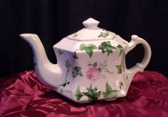 Small Teapot with Pink Rose and Green by ServingTheTable on Etsy $25
