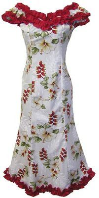 Ladies Long Hibiscus Flower Off Shoulder Hula Dancing Hawaiian Dress XS 2XL | eBay