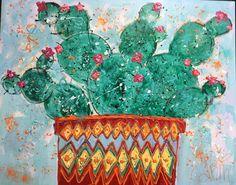 Cactus Kleurrijke kunst bloemen Www.carinart.nl Catus, Painting, Painting Art, Paintings, Painted Canvas, Drawings