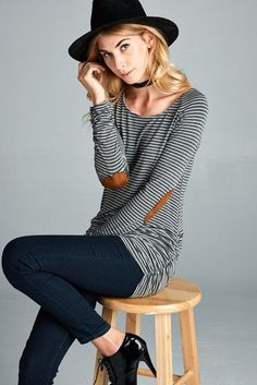 Ariana Striped Tunic with Elbow Patch
