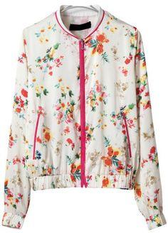 White Long Sleeve Floral Zipper Pockets Jacket - Sheinside.com