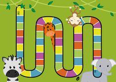 Spelbord met de vorm van ganzenbord, in het thema safari dieren (olifant, giraffe, aap, zebra).  Gemaakt op A1 formaat, kleiner printen is ook mogelijk. Gebruik de kleuren van het spelbord om je eigen opdrachten aan te koppelen.    Engels … Jungle Safari, Activities For Kids, Giraffe, Kids Rugs, Barn, School, Vintage, Hobbies, Africa