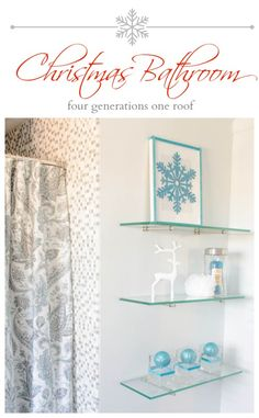Blue bathroom Christmas update + bluetooth fan that streams music - Four Generations One Roof Frozen Christmas, Blue Christmas, Christmas Holidays, Christmas Decorations, Holiday Decorating, Winter Holidays, Happy Holidays, Christmas Ideas, Decorating Ideas