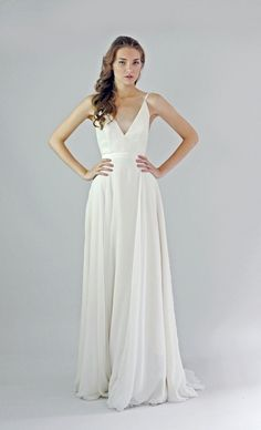 deep v chiffon gown