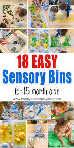 Easy Baby Sensory Bins - HAPPY TODDLER PLAYTIME Learning starts when all the senses are engaged. Here is a list of 18 easy baby sensory bins you can do with your little one from 12 months, 15 months, 18 months and up. Toddler Sensory Bins, Baby Sensory Play, Sensory Activities Toddlers, Montessori Toddler, Toddler Play, Montessori Activities, Baby Play, Infant Activities, Montessori Bedroom