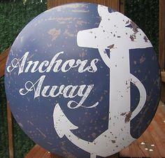 "vintage metal signs decor   Vintage Nautical Decor ""Anchors Away"" Wall Metal Round Dome Tin Sign ..."