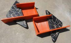 VTG 50s ATOMIC BOOMERANG SHADOW BOX WALL HANGINGS MID CENTURY MODERN EAMES ERA