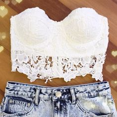 white lace crop top and ragged jean shorts, I want to be so in shape that I can rock this stuff this summer