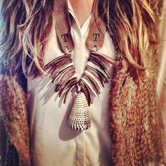 Fur Vest with Twine  Twig Necklace