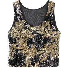 Yoins Black-Gold Crop Vest Top With Sequins (105 GTQ) ❤ liked on Polyvore featuring tops, crop tops, shirts, yoins, black, gold top, sequin embellished top, sequined tops, cut-out crop tops and summer tops