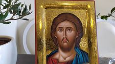 hand painted icon crafted in canvas on wood with the traditional method of the Byzantine hagiography with polished gold background. Christ Pantocrator, Paint Icon, Gold Background, Religious Icons, Art Store, Jesus Christ, Christianity, Carving, Hand Painted
