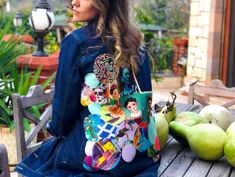 Frida detaylı denim ceket Vera Bradley Backpack, Backpacks, Bags, Fashion, Quilt Block Patterns, Handbags, Moda, Fashion Styles, Backpack