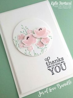 card circle with stamped flowers SU Jars of Love Stampin Up , Everyday Jars, Stamping Up Love Jar, Karten Diy, Stampin Up Catalog, Pots, Card Tags, Paper Cards, Stamping Up, Cool Cards, Flower Cards