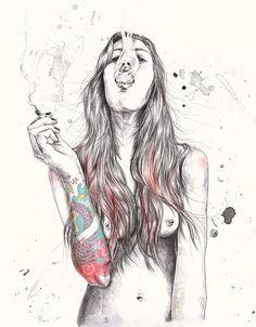 Smoking tattooed girl.