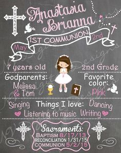 First Holy Communion Chalkboard printable. PLEASE NOTE THIS IS NOT AN ACTUAL CHALKBOARD. This is a DIGITAL FILE that you can print out and use as a keepsake, photo prop or a special memory for your childs communion day. **Please see below for turn around time & printing