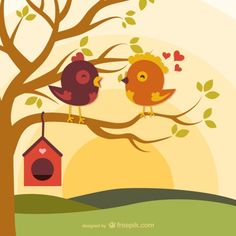Cartoon love birds on branch - Freepik.com-Trees-pin-12