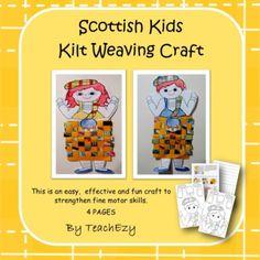 Free teaching resource-Scottish Kids Kilt Weaving Craft by TeachEzy is great to help develop fine motor skills.