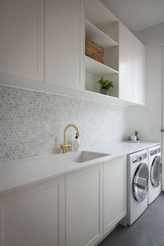modern laundry room design, modern laundry room organization, laundry room cabinets with sink and open shelves and tile floor, laundry in mudroom design Laundry Room Cabinets, Laundry Room Organization, Laundry In Bathroom, Diy Cabinets, Shaker Cabinets, Laundry Storage, Bathroom Cabinets, Laundry Nook, Laundry Decor